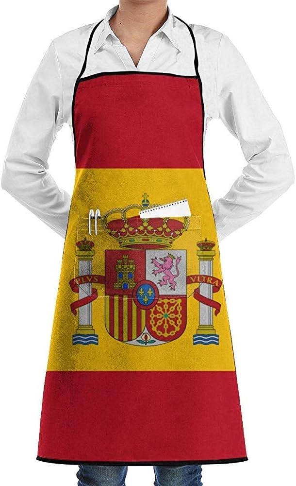 Darlene Ackerman(n) Delantal de Bandera de España, Delantales de Cocina Divertidos con Cocina de Bolsillo: Amazon.es: Hogar