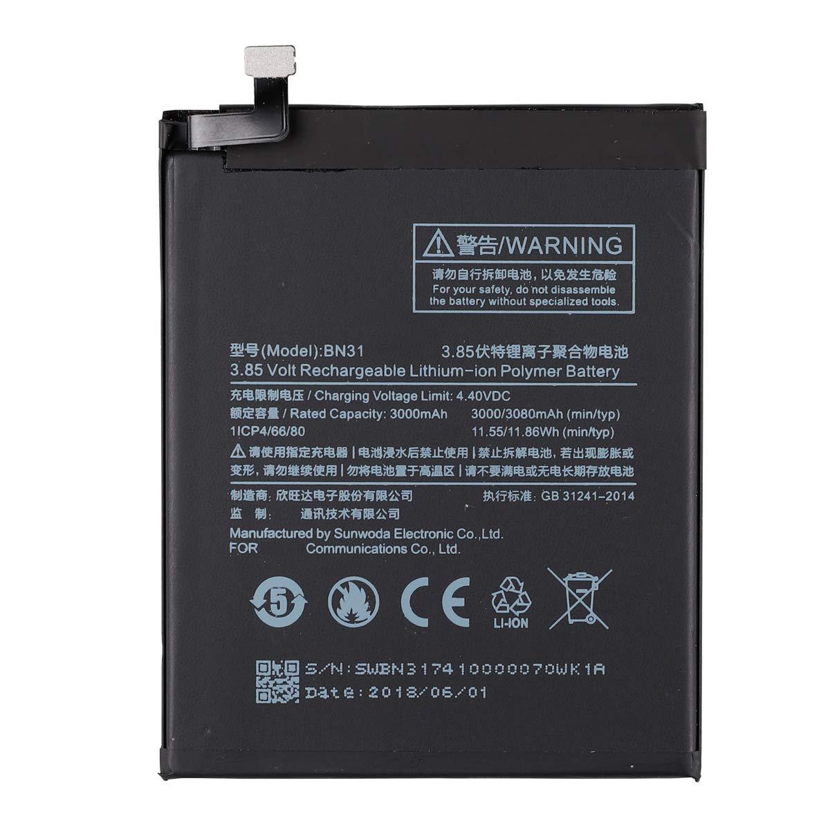 Amazon.com: E-yiiviil - Batería de repuesto BN31 para Xiaomi ...