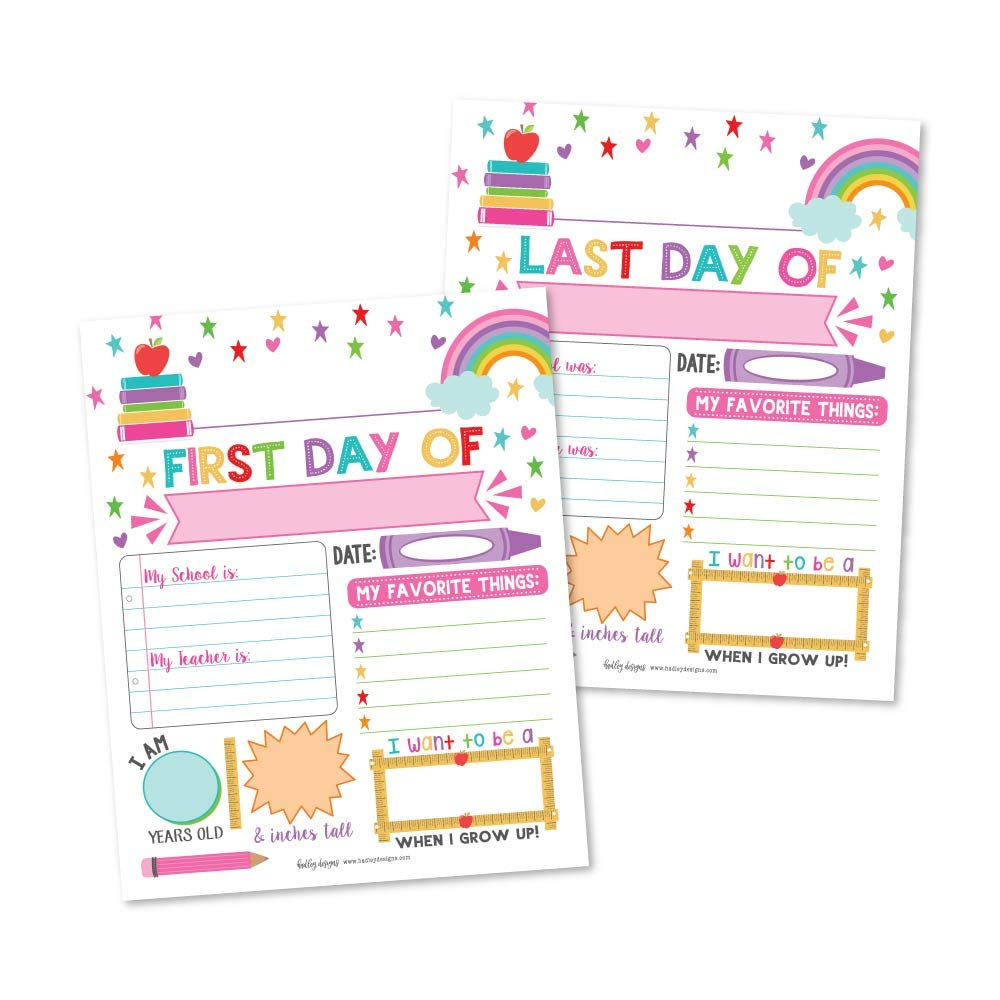 10 Pink First and Last Day of School Interview Signs, Back to School Photo Booth Prop Color White, 1st Preschool, Kindergarten, Pre K Grade Reusable Reversible Girl Boy Kid Child Year 8x10 Card Stock by Hadley Designs