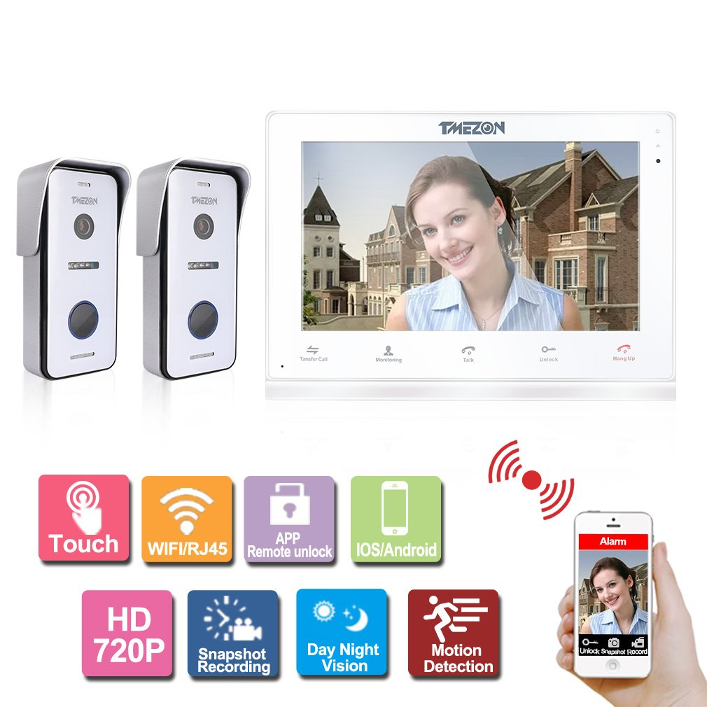 TMEZON 10 Inch Wireless/Wired Wifi IP Video Door Phone Doorbell Intercom Entry System with 2x720P AHD Wired Camera Night Vision,Remote unlocking,Talking,Recording,Snapshot
