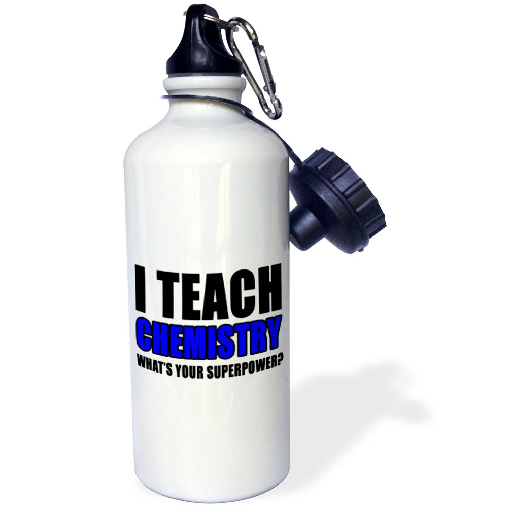 3dRose wb/_224003/_1I Teach Chemistry Whats Your Superpower Blue Sports Water Bottle White 21 oz
