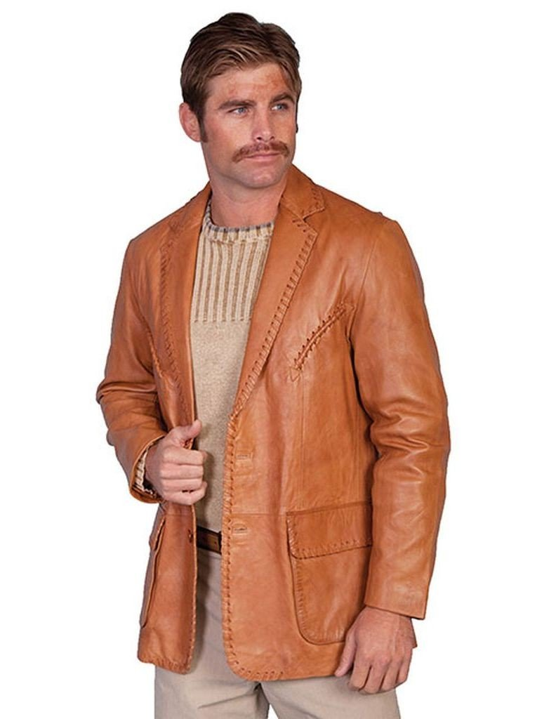 Scully Men's Whipstitch Lambskin Leather Blazer Reg, Tall Ranch Tan 42 T