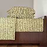 Roostery Text 3pc Sheet Set Ancient Parchment - Sepia On Butter Cream by Peacoquettedesigns Twin Sheet Set made with