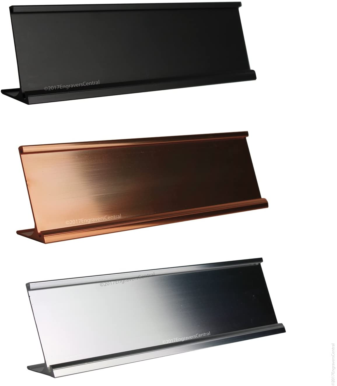 Top Selling 2x12 Office Desk or Tabletop Name Plate Holders - Fits Standard Size 2x12 NamePlates (Not Included), 3 Color Options to Choose from - Gold, Silver or Black.