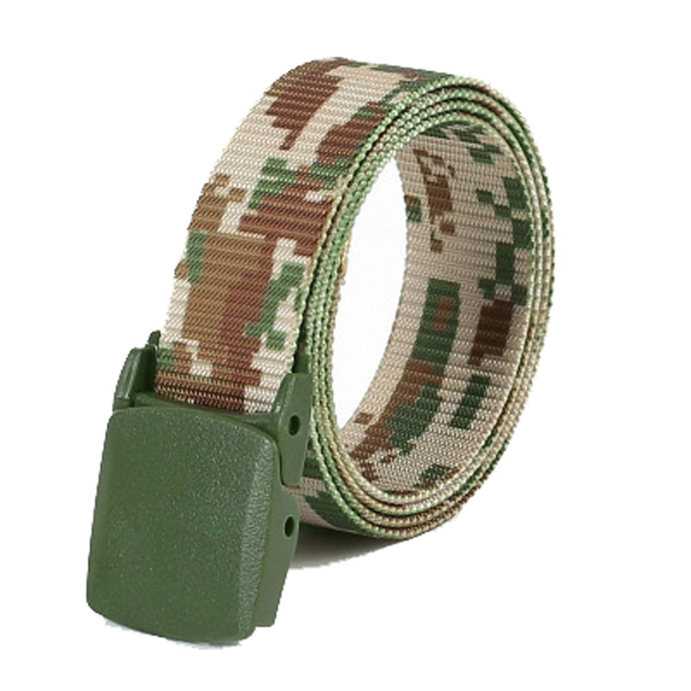 Unisex Design Men Women Army Camouflage Canvas Waist Belt Automatic Buckle Strap Blue Batedan