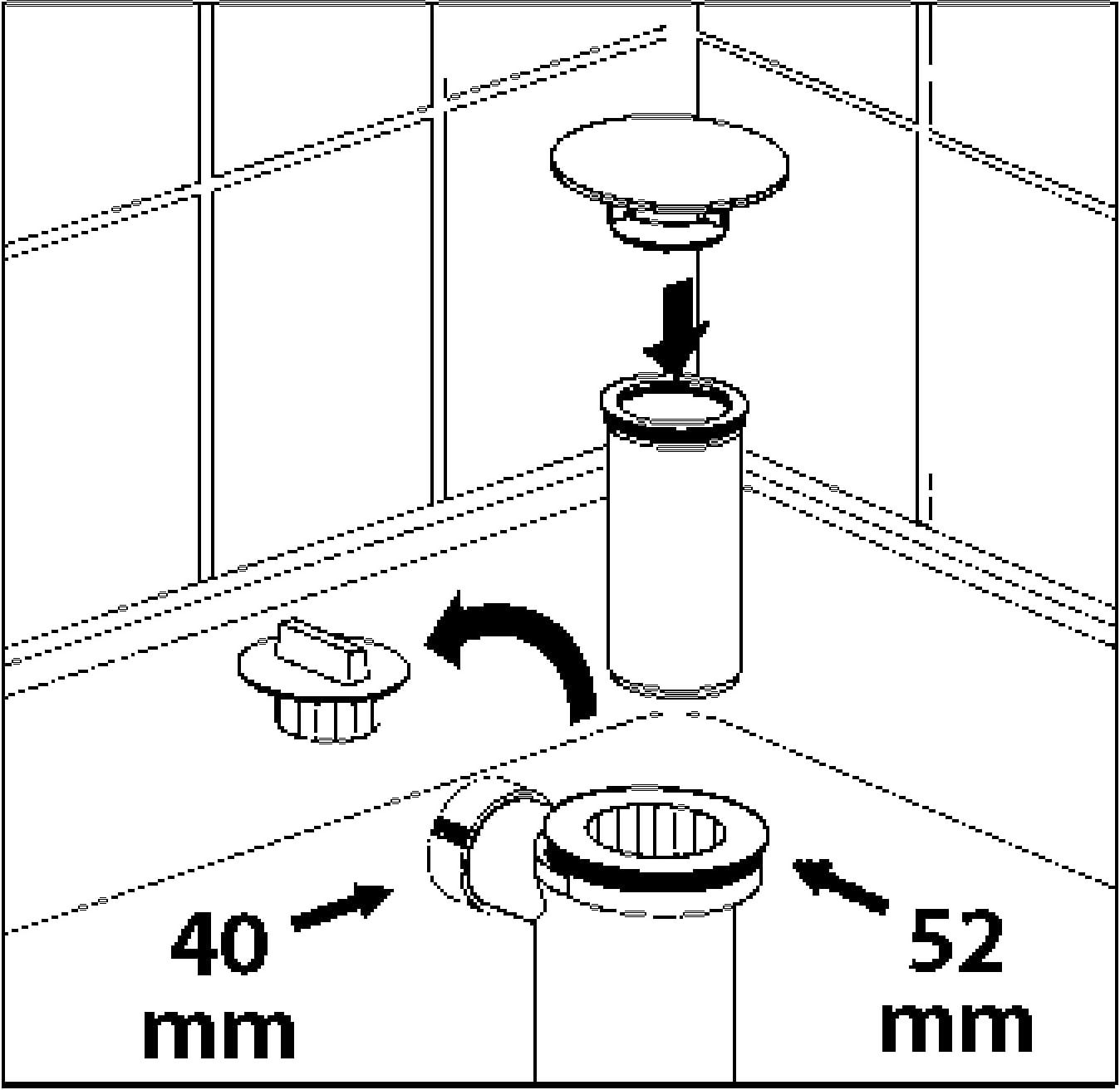 Ablaufloch Modell 1 Sanitop-Wingenroth 22204 4 Brausewannen Ablaufgarnitur 52 mm