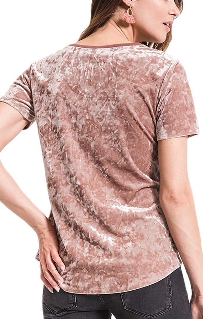 Z Supply ZT184521 The Crushed Velour V-Neck Tee in Rose Gold