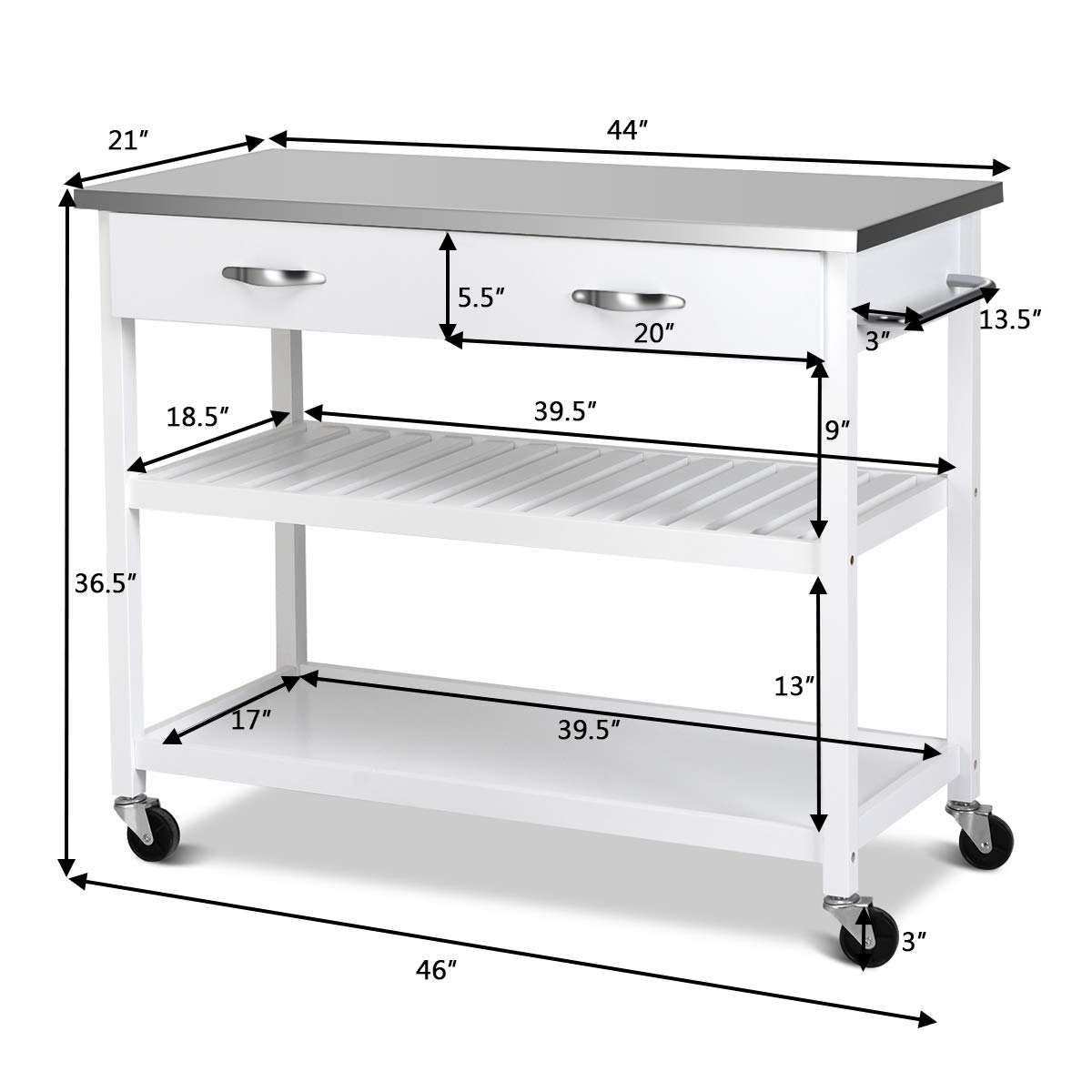 Giantex Kitchen Trolley Cart Rolling Island Cart Serving Cart Large Storage with Stainless Steel Countertop, Lockable Wheels, 2 Drawers and Shelf Utility Cart for Home and Restaurant, (White) by Giantex (Image #8)