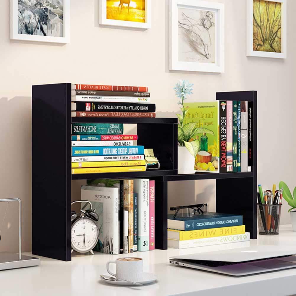 Hossejoy Wood Adjustable Desktop Storage Organizer Display Shelf Rack, Office Supplies Desk Organizer,Black by Hossejoy