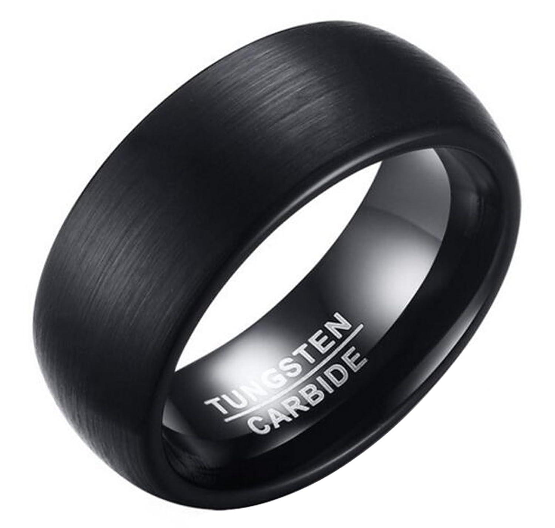 8mm tungsteno carburo de acero negro Metal cepillado superficie alto pulido interior de los hombres banda anillo