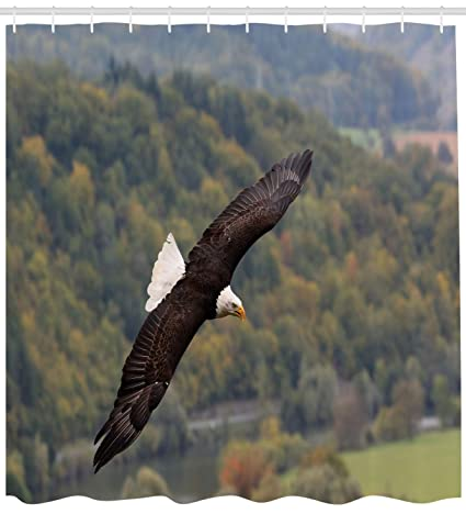 Ambesonne Eagle Shower Curtain King Of Skies Flying Over The Forest And Mountains United States