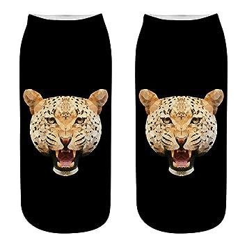 FHCGWZ 5 unids/Set Impresión 3D Mujeres Calcetines Unisex Niñas Novedad Calcetines de Verano Leopardo