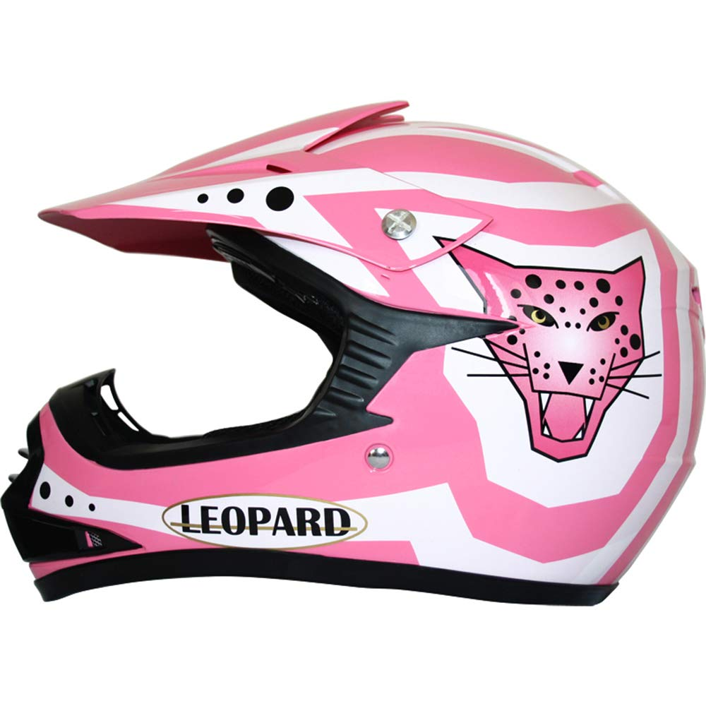 49-50cm + Helmet Pink S 7-8 Yrs /& Gloves Pink S + Goggles } 5cm Leopard Kids Children Motorbike Motocross Set { CAMO Suit M