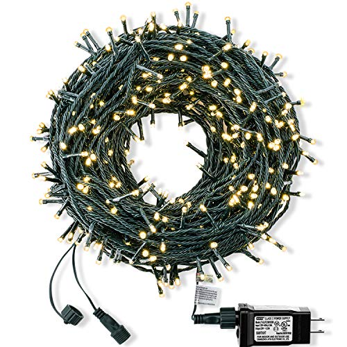 ROYAMY Outdoor Christmas String Lights 300 LED 105ft ,Warm White (Warm Led Lights String White)