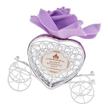 Prettyia Feliz Día Boda Amor Corazón HAPPY WEDDING DAY ROSA Caja de Regalo Caramelo Decoración Boda - Morado: Amazon.es: Hogar