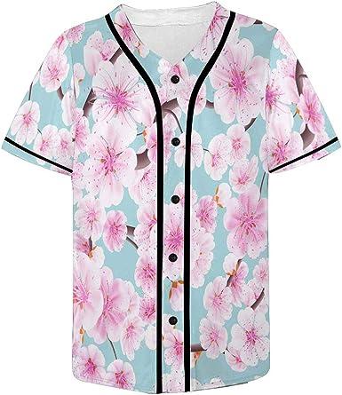 INTERESTPRINT Mens Button Down Baseball Jersey Cute Pattern
