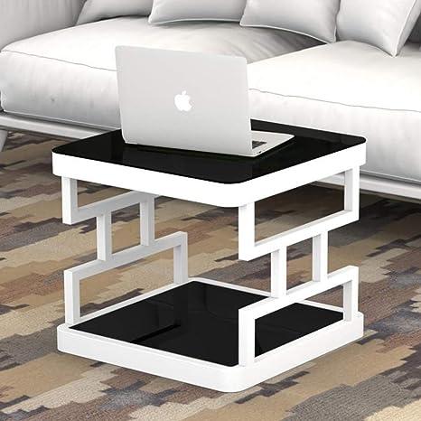 ACZZ Mesa auxiliar para sofá, mesa auxiliar de vidrio ...