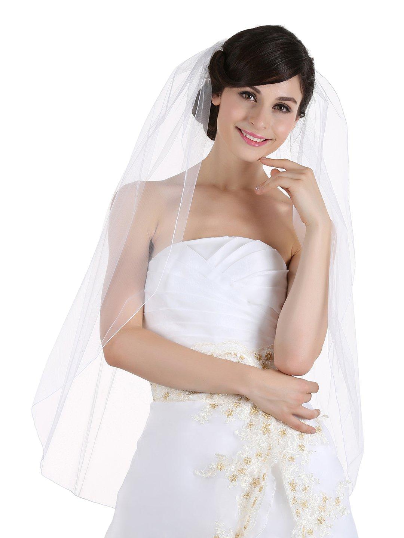 1T 1 Tier Pencil Edge Bridal Wedding Veil - Ivory Fingertip Length 36''
