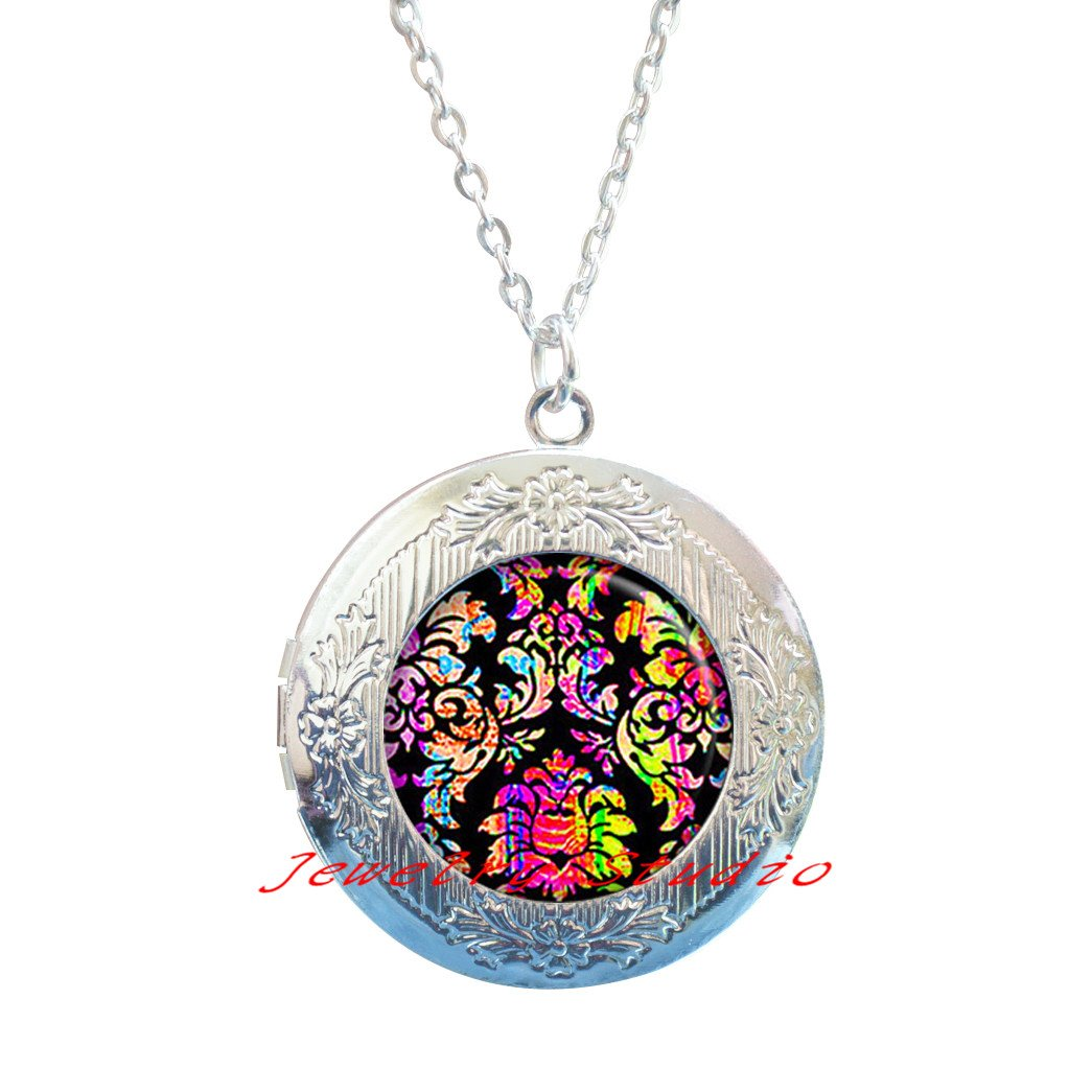 Sixties hippie Locket Necklace retro jewelry hippie jewelry-HZ00331 hippie Locket Necklace Charm hippie jewelry retro Locket Necklace