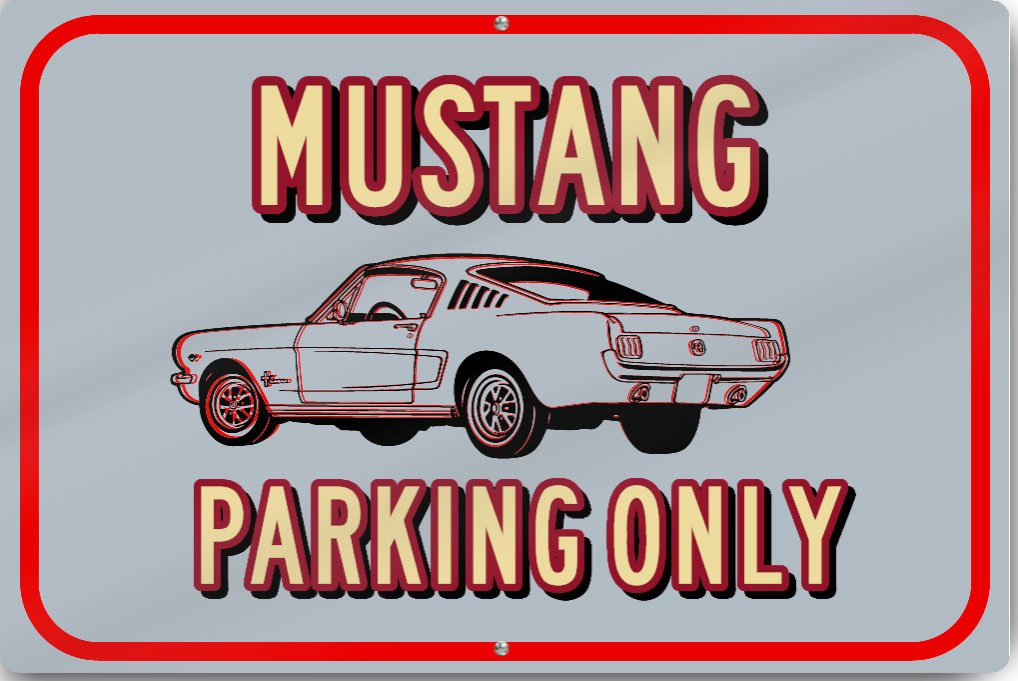 "Horizontal Mustang Only Custom Sign 18"" wide x 12"" tall Heavy Gauge Aluminum Reflective"