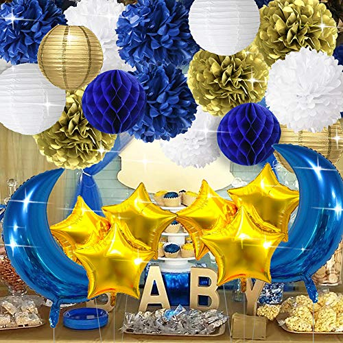(Wcaro Nautical Party Decorations To The Moon Party Decor Royal Blue White Gold Tissue Pom Poms Flower Paper Lanterns Paper Honeycomb Ball Moon Shaped Foil Mylar Balloons Star Shape Foil Mylar Balloons)