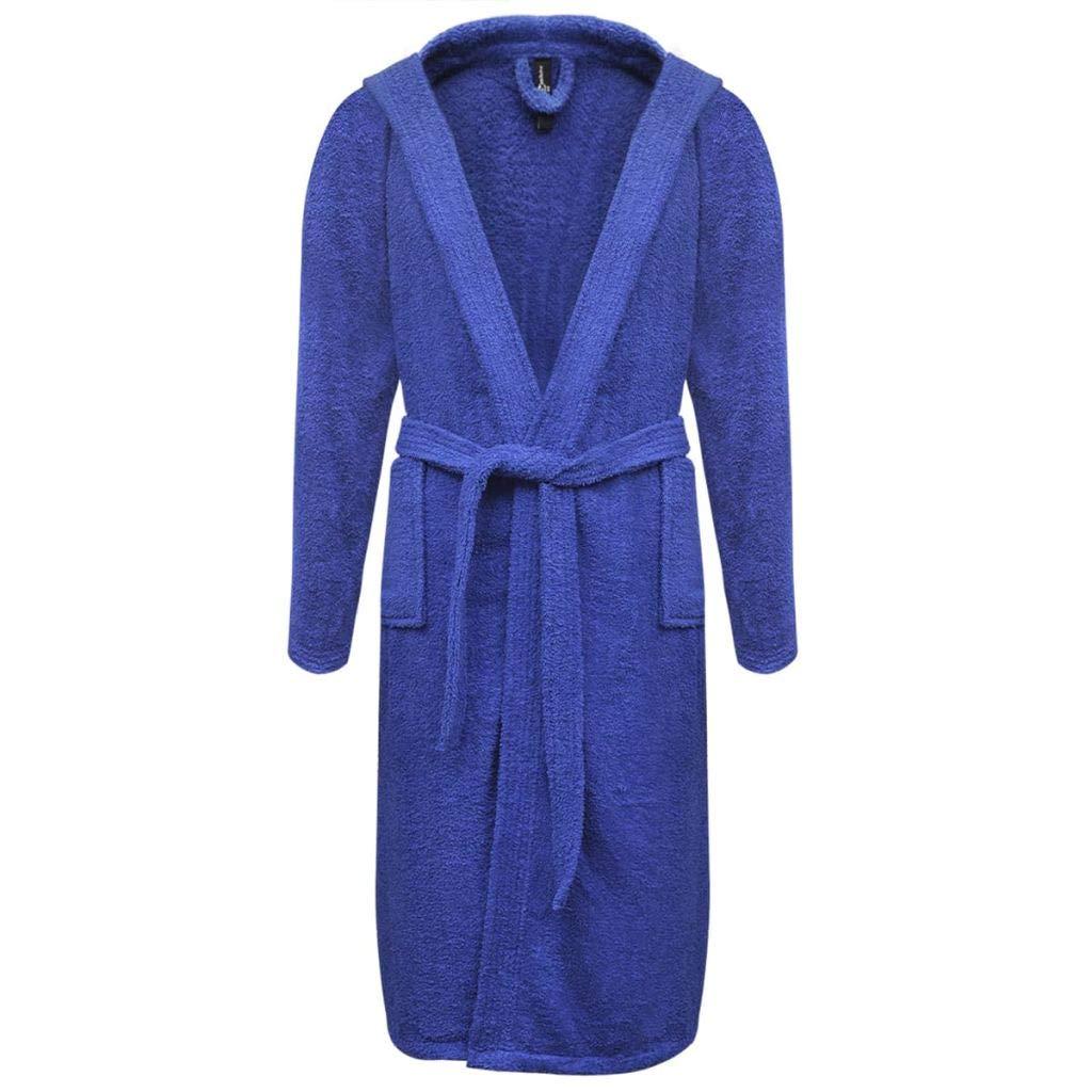 Festnight Bata de algodón Kimonos Unisex de Color Azul, Talla L