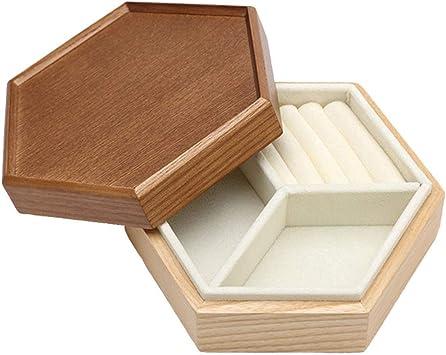 AZWE Caja organizadora de joyas Madera Simple Viento Capa simple ...