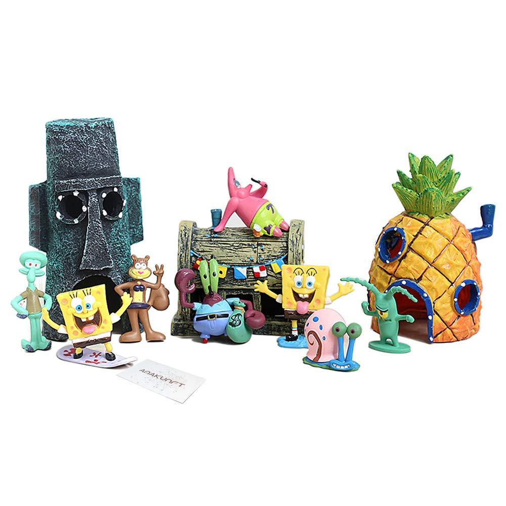 Aquarium Ornaments, Spongebob Fish Tank Decorations Set 11pc