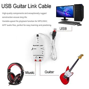 Guitarra eléctrica del bajo de Enlace del adaptador del cable de interfaz USB grabador de audio