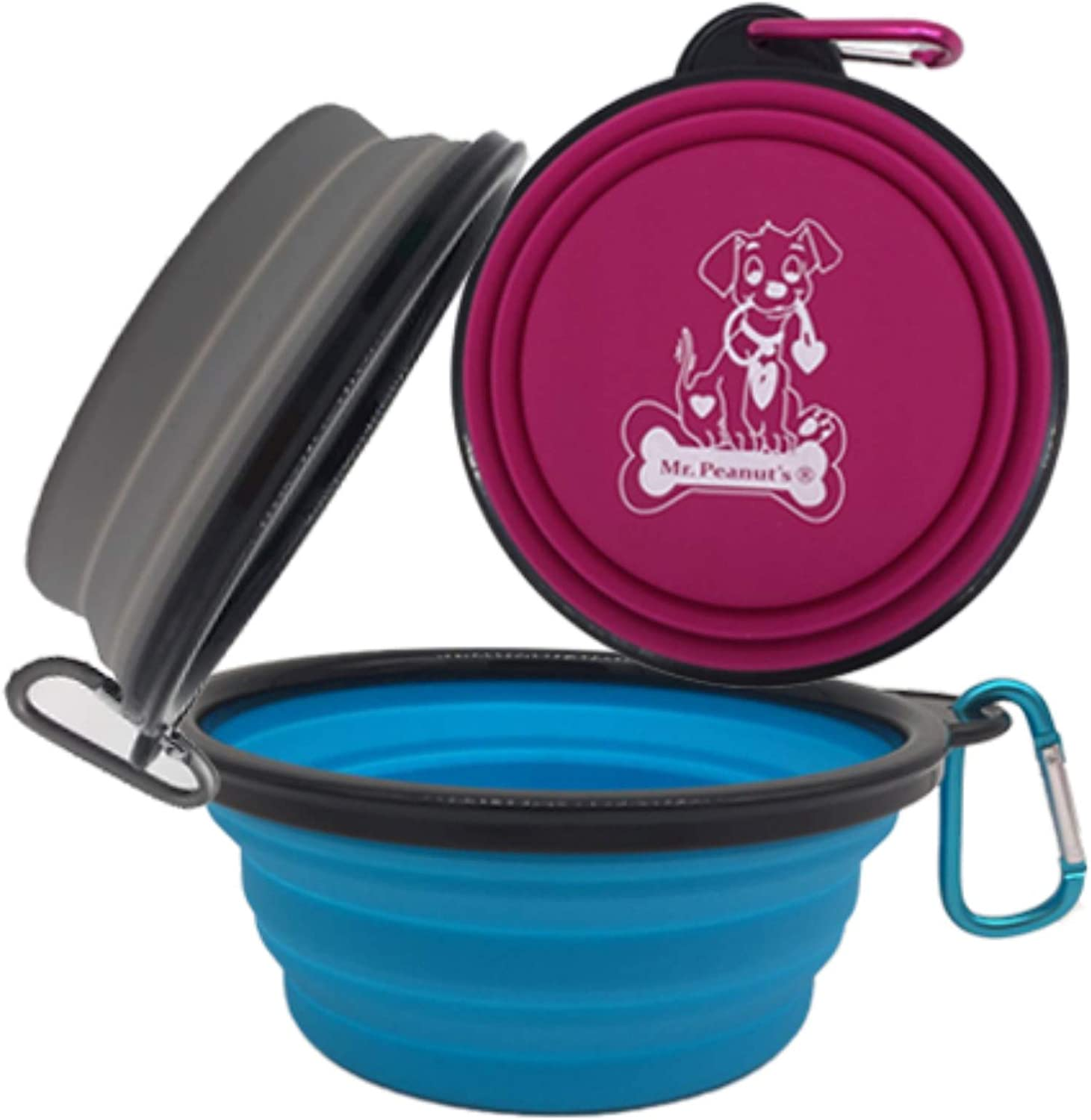 Collapsible Silicone Bowls 3 Pack (XL 25oz Each) with Color Matched Carabiner Clips - Dishwasher Safe BPA FREE Food Grade Silicone Portable Pet Bowls - Foldable for Journeys, Hiking, Kennels & Camping