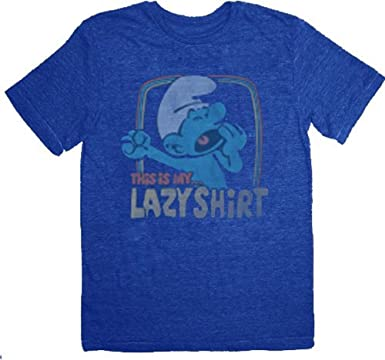 65610ed72 Amazon.com  Junk Food Smurfs Lazy Yawning Liberty Blue T-shirt Tee ...