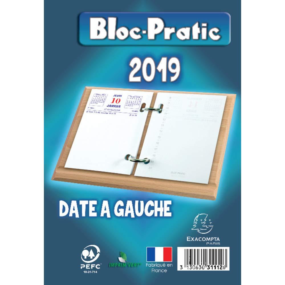 EXACOMPTA -Bloc Pratic Ephéméride Date à Gauche 120x82 mm - Année 2019 Bloc-pratic