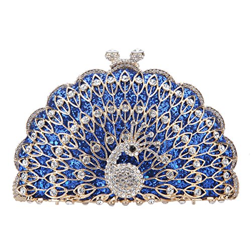 Animal Metallic Bonjanvye Shape Bag Peacock Evening Gorgeous Purse Blue Clutch IBI1Awq4x