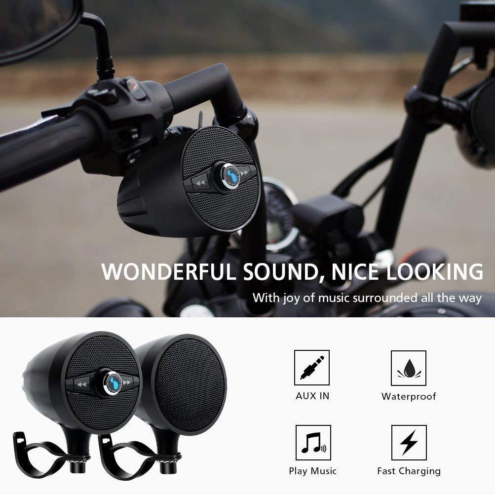 LEXIN S3 3  Sistemas de Audio de Motocicleta Impermeables con Radio FM Altavoces Bluetooth de Motocicleta con Cargador de tel/éfono USB para 7//8  a 1.25  Manillar Negro