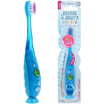 Promobo-Escobilla con cepillo de dientes infantil, diseño de reloj de arena con luz LED azul: Amazon.es: Salud y cuidado personal