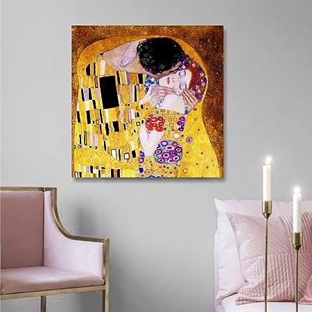 Quadri L&C ITALIA Klimt Il Bacio Quadri Moderni Soggiorno Camera da Letto  50 x 50 Stampa su Tela Cucina Ufficio