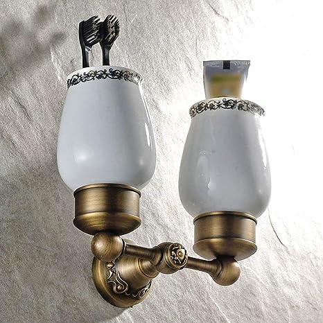 XP Sostenedor de cerámica Doble de Lujo Europeo del Cepillo de Dientes de la Taza del