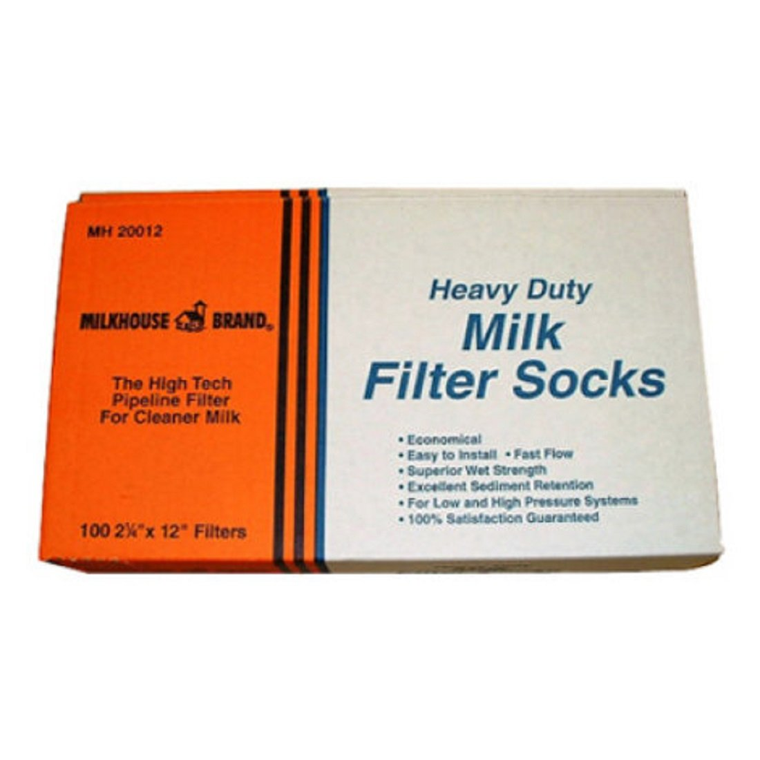 MILKHOUSE BRAND Durable Pipeline Milk Purifier Filter Socks - moderate to high pressure system - 100 per box - 2-1/4'' X 12''