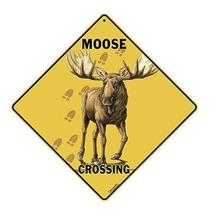 amazon com moose crossing sign yard signs garden outdoor