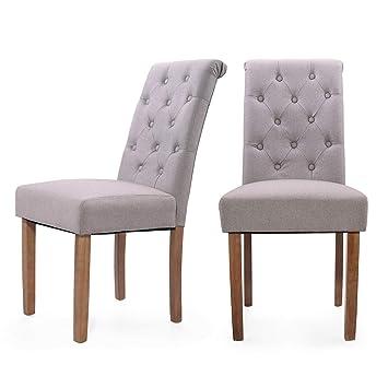 Amazon.com: Juego de 2 sillas de comedor tapizadas de tela ...