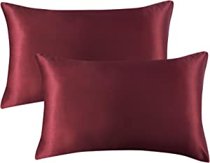 Bedsure Satin Pillowcase for Hair and Skin Silk Pillowcase 2 Pack - Standard Size (20x26 inches) Pillow Cases Set of 2 - Satin Pillow Covers with Envelope Closure, Burgundy