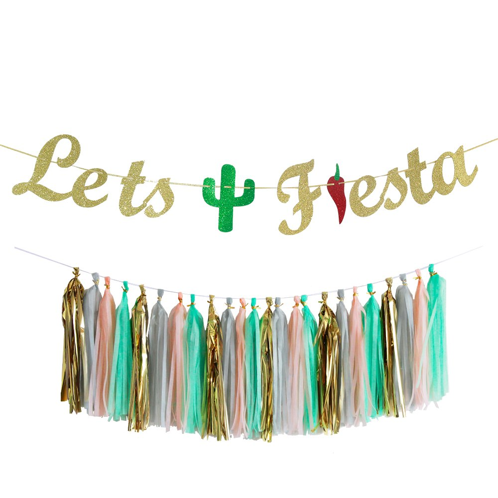Let's Fiesta Bachelorette Party Banner with Tassel Garland Cabo Bachelorette Mexico Bachelorette Theme Cactus Decor Mexican Theme Signs Bunting Garland Photo Booth Props Signs Sombrero Serape Party