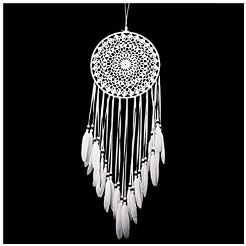 Amazon Com Dream Catcher Handmade Traditional White Feather Wall