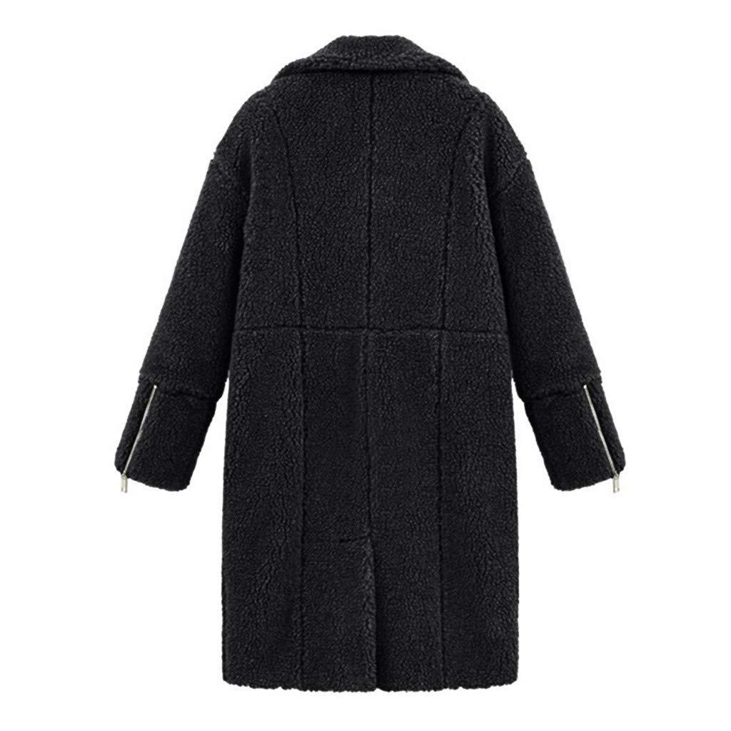 MORCHAN Femmes Hiver Lapel Solides Manches Longues en Peluche de Poche Veste Longue Outwear Manteau Noir