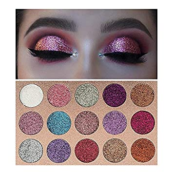 4b18d57a1748 Beauty Glzaed 15 Colors Glitter Make-up Powder Metallic Shimmer Eye Shadow  Palette Highly...