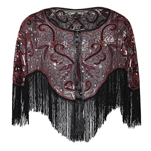 - PrettyGuide Women's Evening Warps Bead Sequin Fringed Flapper 1920s Bridal Capelet Burgundy
