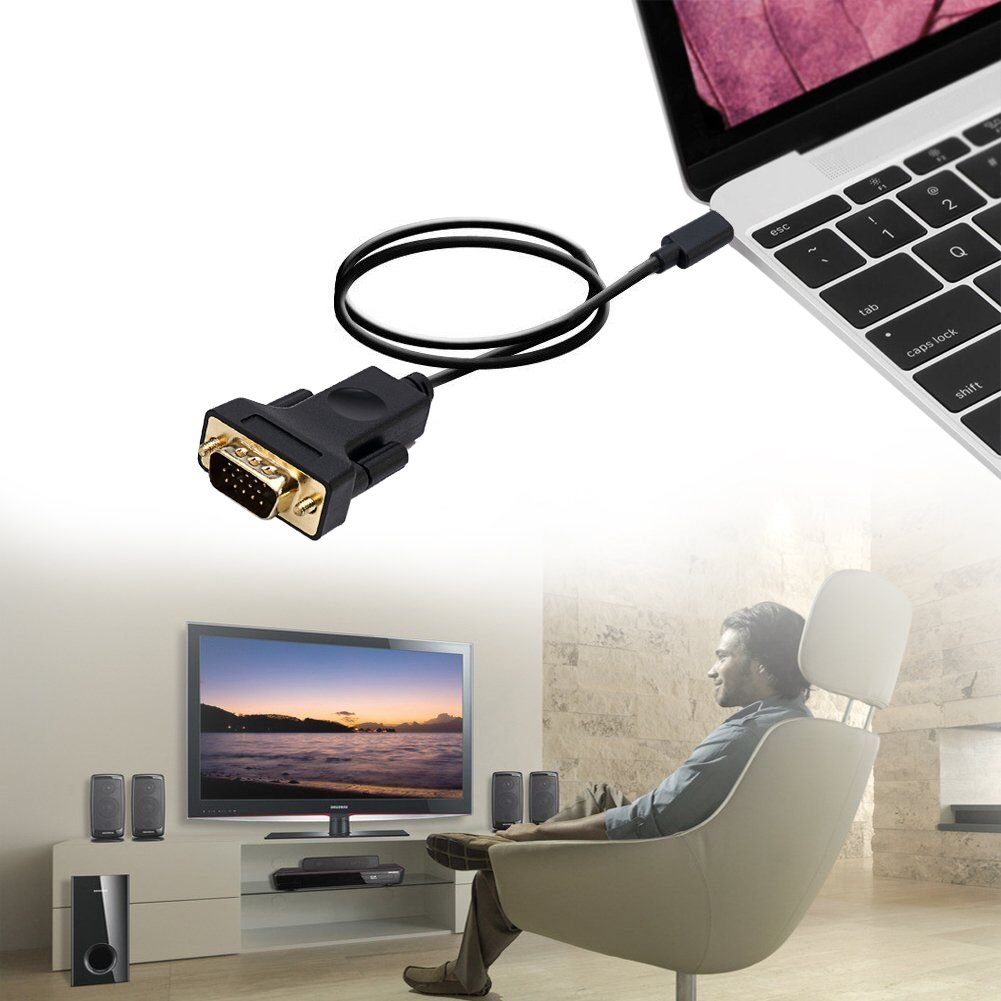 USB-C To VGA ,CableDeconn Thunderbolt 3 Type C to VGA Male Converter Adapter Cable 1.8M for New Macbook Google Chromebook Pixel,Dell XPS 13 15 Huawei Mate10 by CableDeconn (Image #6)