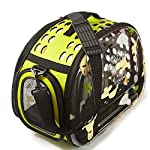 PINMEI Fashion Design Dog & Cat Carrier Clear Bag Fodable Breathable Airline Approved (Green)