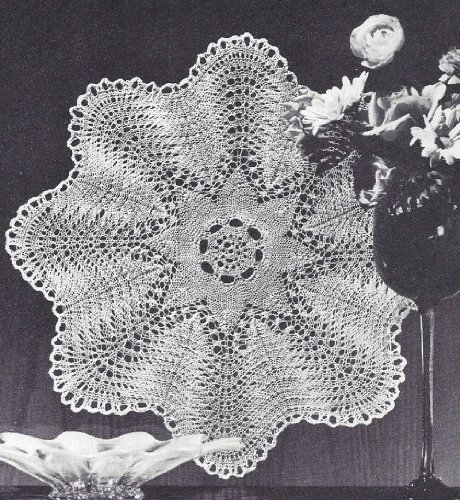 Vintage Knitting PATTERN to make - Vintage Knitted Lace Doily Centerpiece Mat Feather Fan Design. NOT a finished item. This is a pattern and/or instructions to make the item (Feather And Fan Knitting Pattern)