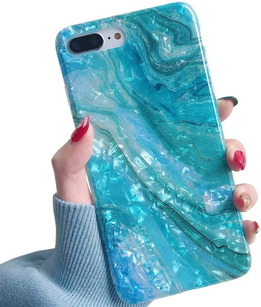 YeLoveHaw iPhone 8 Plus / 7 Plus Case for Girls, Glitter Pearly-Lustre Translucent Shell Texture with Quicksand Pattern Phone Case [Flexible, Slim Fit, Full Protective] for iPhone 7Plus / 8Plus(Blue)